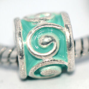 1x Retro Silver Green Bead Charm Spacer Fit Eupropean Chain Bracelet DIY Jewelry