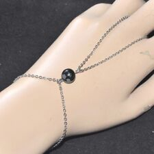 Chaîne de main bracelet bague acier inoxydable Obsidienne mouchetée bijou