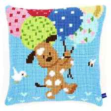 Dog with Balloon - Large Holed Tapestry Cushion Kit/Printed Chunky Cross Stitch