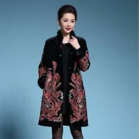 Womens Fashion Velvet Chinese Retro Embroidered Fur Trim Coat Jacket Outwear SKG