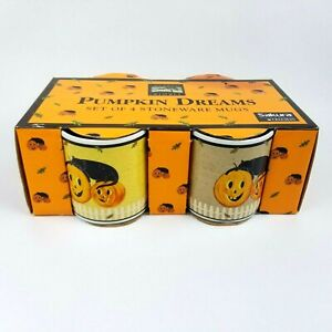 Sakura PUMPKIN DREAMS WARREN KIMBLE Halloween Mugs Black Cat 4 Cup Set NEW