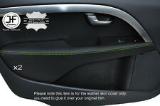 GREEN STITCH 2X FRONT DOOR ARMREST LEATHER COVERS FITS VOLVO V70 2007-2014