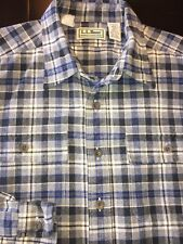LKNW VTG L.L. Bean Men's L/S Plaid Chamois Cloth Flannel Button Shirt Size Large