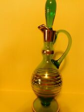 New listing Beautiful Vintage Green with Gold Stripes and Gilding Glass Wine Decanter