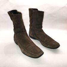 AGL Attilio Giusti Leombruni Womens Brown Suede Side Zip Ankle Boots Size EU 40