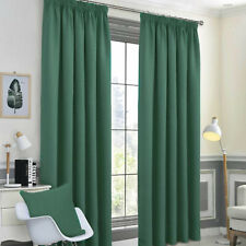 Emerald Green Blackout Thermal Pair Tape Top Ready Made Curtains - Energy Saving