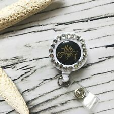 Retractable Bling Name Badge Clip Pull Lanyard iD Holder Gift Hello Gorgeous