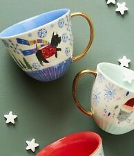 NEW ANTHROPOLOGIE CUP MUG HOLIDAY SPIRIT FESTIVE SCOTTIE DOG BLU/GLD ACCENT XMAS