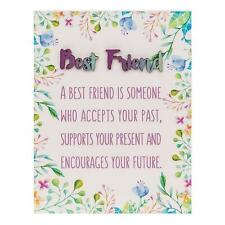 Best Friend Gift - Floral Oblong Colourful plaque with sentiment 66272