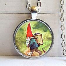 Vintage gnome Cabochon Tibetan silver Glass Chain Pendant Necklace