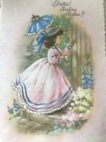 Vintage Greeting Card Get well Parchment Glitter Girl Pink Dress Blue Parasol