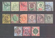 GB Scott 127/138, 1902 Edward VII Simplified Set 1/2d - 1/- used