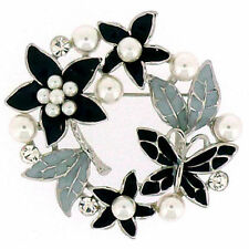Crystal Flowers Enamel Costume Brooches & Pins
