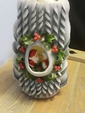 Vintage 1973 Large Decorated Christmas Candle 10in. Unused