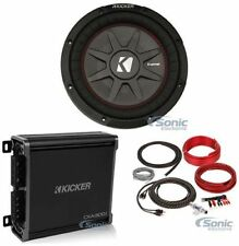 "(2) Kicker 43CWRT672 COMPRT67 6 3/4"" 600W Slim Car Subwoofers+Amplifier+Amp Kit"