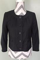 J. CREW Super 120s Womens Black 100% Wool Career Coat Jacket Blazer Sz 4 XS