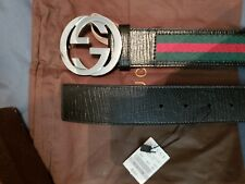 """Authentic Men's Gucci Web Belt Stripes with Silver Buckle fits 34""""-36"""" Waist"""