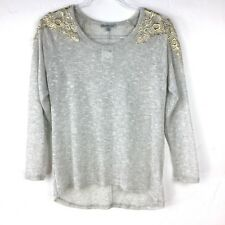 NWT Charlotte Russe Women's Floral Crochet Long Sleeve Top Gray Gold Size Small