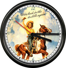 Cowgirl Pinup Girl In Saddle Again Paint Horse Western Gift Sign Wall Clock