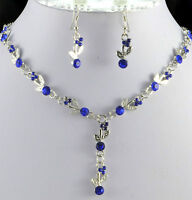 SILVER TONE ROYAL BLUE  CRYSTAL  NECKLACE AND  EARRINGS SET