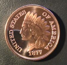 1 OZ COPPER ROUND 1877 INDIAN HEAD CENT DESIGN