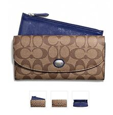 $228 NWT Coach Peyton Signature Slim Envelope with Pouch 49154 SilverKhaki/Navy