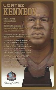 Cortez Kennedy Seattle Seahawks  Football Hall of Fame Bust Card