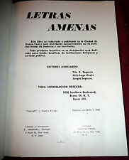 Letras Amenas1965 Bronx, NY Puerto Rico Hispanic Poetry & Songs, SIGNED