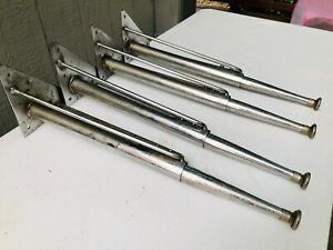 Set 4 Vintage Industrial Mid Century MCM Table Legs Chrome Adjustable Heavy Wow!
