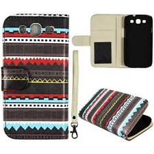 For Samsung Galaxy S3 i9300 Black Aztec Style  Flip Wallet Leather Case Cover Gl