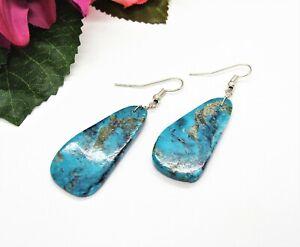 Cool! Silvertone & Blue Mottled Chrysocolla Stone Pierced Dangle Earrings!