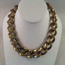 "Vintage KENNETH JAY LANE Antique Gold Tone Chunky Necklace 17-20"" #2835"