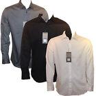 Mens 100% Cotton Casual Formal Smart Striped Long Sleeve Shirt Black/White/Grey