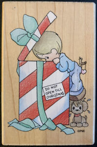 Stampendous Precious Moments Do Not Open Till Christmas Rubber Stamp