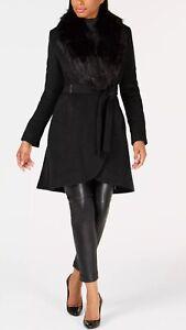 Calvin Klein Wool Wrap Belted Coat Detachable Faux Fur Trim Size UK 14 RRP $460