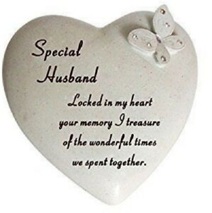 Special Husband Butterfly Gem Heart Memorial Graveside Plaque Grave Ornament New