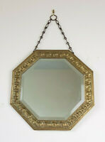 Vintage Brass Framed Octagonal Bevelled Mirror on Chain
