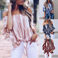 Women Off Shoulder Loose Short Sleeve Tops Blouse Ladies Striped T Shirt Tops