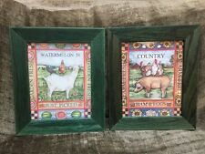 Vintage Set 2 Framed Wall Art Prints French Country Farm Animals Rooster 11x13""