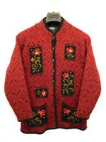Icelandic Design M Red Black Floral Wool Nordic Cardigan Sweater Jacket Lined m