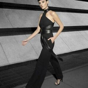 NWT CARLA ZAMPATTI Ebony Black Crepe Bound To Win Jumpsuit sz 8 RRP $899 [ot