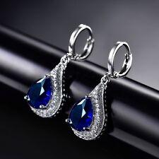 18k Silver Gold Filled Royal Lady Bule Swarovski Crystal Fashion Dangle Earrings