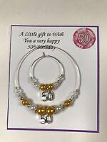Wine, Champagne Bottle & Glass Charm 18 21 30 40 50 60  Birthday Gift Gold