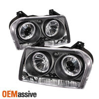 Fits Black 05-07 Chrysler 300 Halo Projector LED Headlights Lamp Pair Left+Right