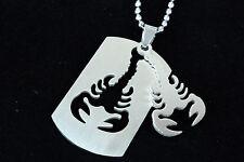 Men's Silver Necklace Scorpion Stainless Pendant 60cm Chain