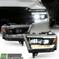 2019-2020 Ram 1500 Black [Built-In LED Low/High Beam] DRL Sequential Headlights