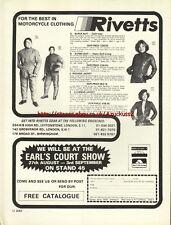 Rivetts Clothing Motorcycle 1977 Magazine Advert #2828