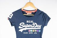 Vintage Superdry Women T-Shirt Short Sleeves Blue Casual Cotton Blend size XS