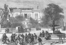 FRANCE. House of M Thiers, Place St Georges, Paris, antique print, 1871