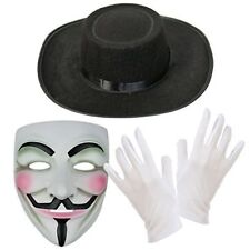 V for Vendetta Mask Party Fancy Costume Guy Fawkes Halloween Anonymous 3 PC Set